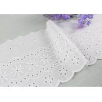 Buy cheap Embroidered Flower Eyelet Cotton Lace Trim With Azo Free Organic Cotton Yarn Made from wholesalers