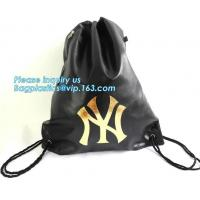 Custom Name Stamping PU Leather Drawstring Bag With Handle Waterproof Promotiona