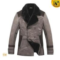 China Mens Double Breasted Lamb Fur Lined Leather Trench Coat on sale