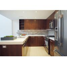 China Walnut Flat Panel Wood Veneer Kitchen Cabinets U Shape With Breakfast Table wholesale