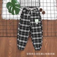 China Full Length Casual Girls Grid Pattern Pants 42cm To 68cm wholesale