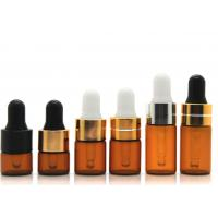 China Round Dropper 1ml Cosmetic Glass Bottles With Glass Pipette For Essential Oil wholesale