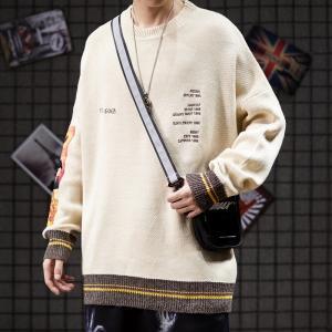 China Khaki Color Block Drop Shoulder Mens Warm Sweaters Breathable wholesale
