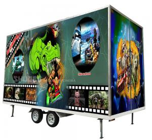China Flexible Mobile 5D Cinema With Trailer And 12 Red Motion Electric Seats wholesale