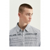 China Turn Down Collar Business Long Sleeve Men Shirts White Shirt With Black Stripes wholesale