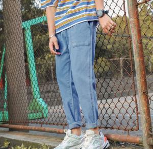 China Spring Summer Harem Men Denim Pants Drawstring Waist Jeans With Large Pockets wholesale
