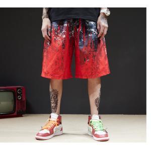 China Digital Offset Printing Gradual Mens Red Boardshorts With Pockets wholesale