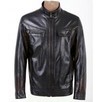 China Size 54, Size 56, Black / Dark Red / Coffee Fleece Lined PU Leather Jacket for Men wholesale