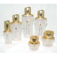 China OEM White frosted  Cosmetic Packaging Glass Bottles and Jars with cap and pump wholesale