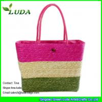 China Handmade wheat straw totes monogrammed beach bags on sale