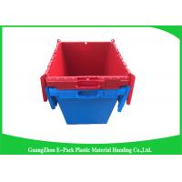 China Solid Moving Plastic Attached Lid Containers , 50kgs Security Plastic Bins With Lids wholesale