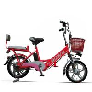 China Red Hybrid Lithium Bicycle Steel Frame Easy Bike Electric Bike 35Km - 40 Km wholesale