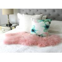 China Natural Pink Real Mongolian Lamb Rug Bed Fur Blanket Decorative Blankets Floor Rugs and Carpets For Living Room on sale