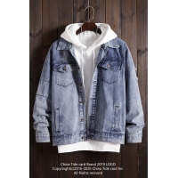 China Best clothing manufacturers in China Breathable Oversize Light Blue Jeans Jacket Single Button wholesale