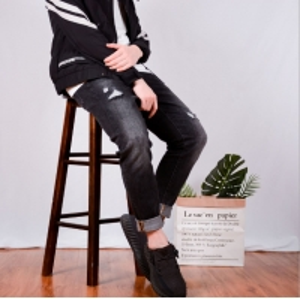 China ODM OEM Korean Version Autumn Winter Men Pants Casual Straight Mid Waist Jeans wholesale