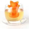 China Orange Cat shaped Food Grade safe Silicone Tea Strainers BPR Free wholesale