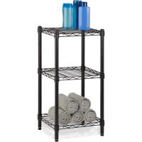 China Office Commercial Wire Shelving Towel Toiletries Carbon Steel Black Epoxy Storage Table wholesale