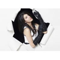 China Classic Ladies Long Sheep Lambskin Black Leather Gloves With Viscose Lining wholesale