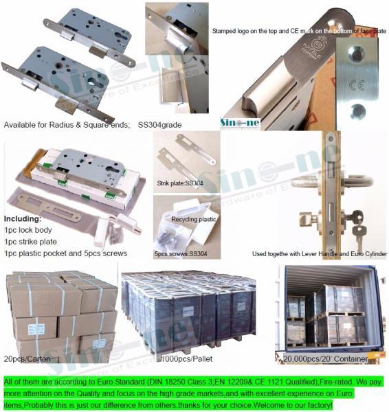 High quality Euro standard DIN18251 / EN12209 SS 304 mortise door lock