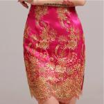 Rose Retro lace neckline cheongsam wedding dress / high neckline bridal dresses