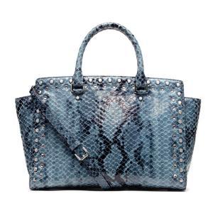 China Cow Leather Printed Snake Lady Genuine Leather Handbag With Studs  Rhinestone , Custom Make on sale