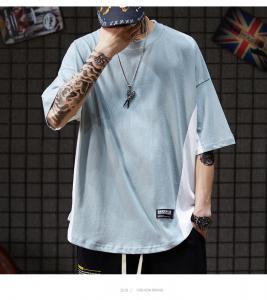 China Cotton Plain Loose Drop Shoulder Oversized Tee XS To XXL Hip Hop T Shirt For Men wholesale