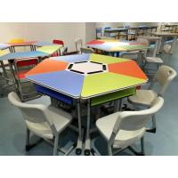 China Colourful Six Joint Student Desk And Chair Set PVC Edge For Training Room wholesale
