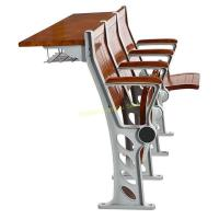 China Walnut Plywood College Classroom Furniture / Student Study Table And Chair With Armrest wholesale