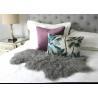 China Hide Pelt Grey Bedroom Sheepskin Rugs 100% Mongolian Lamb Fur With Long Hair wholesale