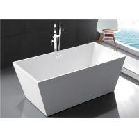 Quality Fiberglass Freestanding Rectangular Tub , Modern Stand Alone Tub In Small Bathroom for sale