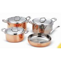 China Saucepot and frypan cookware set 7Pcs for Tri-ply Copper SHXYY-01-4,Thickness 2.2-3.0mm, wholesale