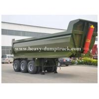 China Custom 3 Axles pull behind dump flatbed trailer , semi gooseneck dump trailer 40m3 Loading Weight on sale