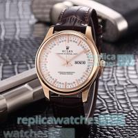 China Rolex Oyster Perpetual Men's Replica Watch White Dial Brown Leather Strap men's Rolex watch wholesale