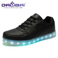 China Custom PU Upper Led Light Up Shoes for adults , LED Sneakers Black White on sale