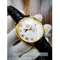 Buy cheap High Quality Copy Omega De Ville Watch-White Dial Black Leather Strap from wholesalers