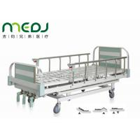 China Green Manual Hospital Bed Height Adjustable Three Cranks Steel Frame MJSD05-10 on sale