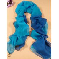 China 2013 new fashion mazarine and Light blue gradient color Hand Painted Silk Scarf/ chiffon scarves shawls wholesale