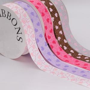 China Fancy 1 Inch Grosgrain Ribbon , Pink / Light Purple Custom Printed Ribbon wholesale