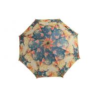 China 46 Inch Arc Custom Printed Umbrellas , Straight Auto Open Wooden Handle wholesale