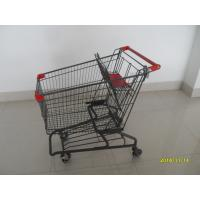 China Durable Grocery Shopping cart trolley With welded low tray and 4x4inch swivel lfat casters wholesale