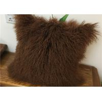 China Customized Color / Size Mongolian Sheepskin Decorative Throw Pillow 10-15cm Wool wholesale