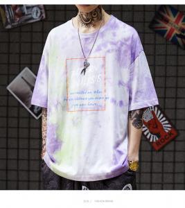 China Eco Friendly Men Streetwear T Shirts Organic Cotton Jersey Dip Dye Tone Crew Neck wholesale