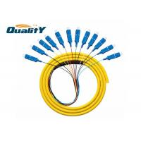 Buy cheap Yellow Singlemode G652D Fiber Optic Cable / 12 Core SC UPC Pigtail from wholesalers