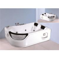 China Jacuzzi Bubble Bath Jetted Corner Whirlpool Bathtub With Shelf 1800*1230*680mm wholesale