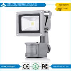 China 3years warranty high quality 12V DC 10W PIR LED flood light CE RoHS Gray housing wholesale