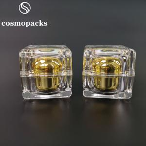 China 10g 30g 50g Cube like Gold Acrylic Plastic Square Cream Jars wholesale