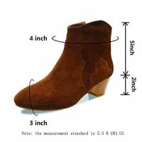 China Women Shoes Ankle Boots Suede Leather Low Heels Black/Brown wholesale