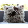 China Mongolian lambskin pillow Curly fur throw Long hair tibetan lamb fur cushion cover wholesale