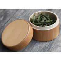 China Round Birch Bark Balsa Box Natural Wood Color , Wooden Tea Bag Gift Box wholesale
