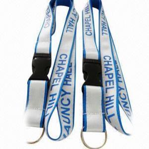 China Satin overlay polyester neck lanyards with silkscreen print logo, promotional ID card holder lanyard wholesale